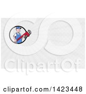 Retro Cartoon White Male Plumber Or Handy Man Holding A Giant Monkey Wrench And Gray Rays Background Or Business Card Design