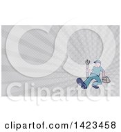 Clipart Of A Retro Cartoon White Handy Man Or Mechanic Walking With A Spanner Wrench And Tool Box And Gray Rays Background Or Business Card Design Royalty Free Illustration
