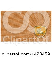 Clipart Of A Retro Horseback Knight In Full Armor Holding A Lance In A Shield And Brown Rays Background Or Business Card Design Royalty Free Illustration by patrimonio