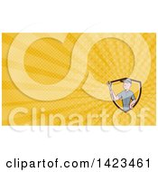 Clipart Of A Retro Cartoon White Handy Man Or Mechanic Holding A Spanner Wrench And Yellow Rays Background Or Business Card Design Royalty Free Illustration