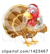 Clipart Of A Christmas Turkey Bird Wearing A Santa Hat And Holding Silverware Royalty Free Vector Illustration by AtStockIllustration