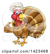 Clipart Of A Cartoon Turkey Bird Chef Giving Two Thumbs Up Royalty Free Vector Illustration