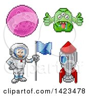 Clipart Of A Retro 8 Bit Pixel Art Video Game Styled Astronaut Rocket Alien And Planet Royalty Free Vector Illustration by AtStockIllustration