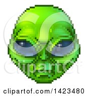 Clipart Of A Retro 8 Bit Pixel Art Video Game Styled Alien Face Royalty Free Vector Illustration