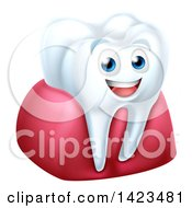 Clipart Of A 3d Happy White Tooth Character In Gums Royalty Free Vector Illustration