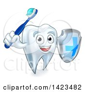 Clipart Of A Happy Tooth Character Holding A Toothbrush And Shield Royalty Free Vector Illustration