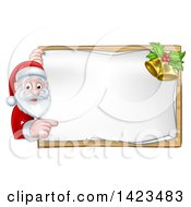 Clipart Of A Cartoon Happy Christmas Santa Claus Pointing Around A Sign With Bells Royalty Free Vector Illustration by AtStockIllustration