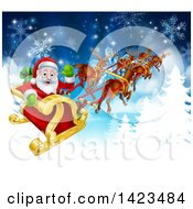 Clipart Of A Team Of Magic Christmas Reindeer Flying Santa In The Snow Royalty Free Vector Illustration