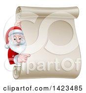 Cartoon Happy Christmas Santa Claus Pointing Around A Scroll Sign