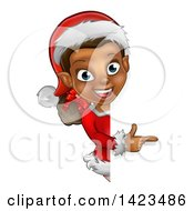 Clipart Of A Black Female Christmas Elf Pointing Around A Sign Royalty Free Vector Illustration