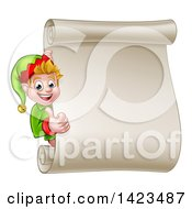 Clipart Of A Blond White Male Christmas Elf Giving A Thumb Up By A Blank Scroll Royalty Free Vector Illustration