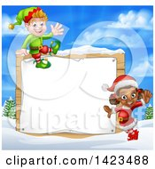 Clipart Of Happy Christmas Elves By A Wooden Sign In A Winter Landscape Royalty Free Vector Illustration by AtStockIllustration