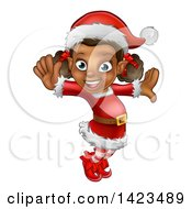 Clipart Of A Happy Black Female Christmas Elf Jumping Or Dancing Royalty Free Vector Illustration by AtStockIllustration