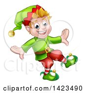 Clipart Of A Happy Blond White Male Christmas Elf Walking Or Dancing Royalty Free Vector Illustration by AtStockIllustration