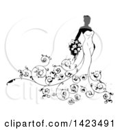 Clipart Of A Silhouetted Black And White Bride In Her Gown With Swirls Royalty Free Vector Illustration