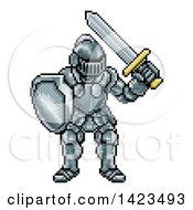 Clipart Of A Retro 8 Bit Pixel Art Video Game Styled Knight Royalty Free Vector Illustration by AtStockIllustration
