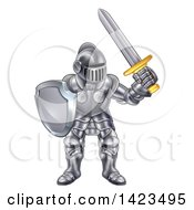 Clipart Of A Male Knight In A Suit Of Armour Royalty Free Vector Illustration by AtStockIllustration