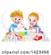 Poster, Art Print Of Cartoon Happy White Boy Kneeling And Painting Artwork And Girl Playing With A Toy Car