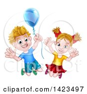 Clipart Of A Cartoon Happy Excited Blond Caucasian Boy And Girl Jumping With A Party Balloon Royalty Free Vector Illustration