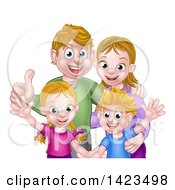 Cartoon Caucasian Brother And Sister Waving With Their Mom And Dad