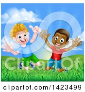 Clipart Of A Happy Excited White And Black Boys Jumping Outdoors Royalty Free Vector Illustration