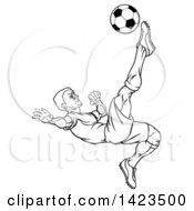 Clipart Of A Black And White Lineart Male Soccer Football Player Kicking The Ball Royalty Free Vector Illustration