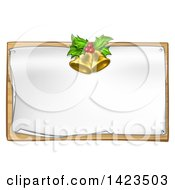 Clipart Of 3d Gold Christmas Bells Holly And Berries Over A Blank Sign Royalty Free Vector Illustration by AtStockIllustration