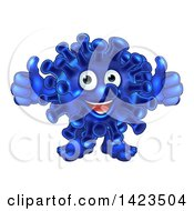 Cartoon Happy Blue Virus Or Monster Giving Two Thumbs Up