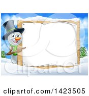 Happy Snowman Wearing A Christmas Top Hat And Pointing Around A Blank Sign In A Winter Landscape