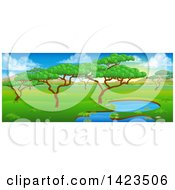 Clipart Of A Safari Landscape With A Pond Trees And Mountains Royalty Free Vector Illustration