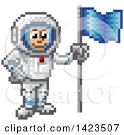 Clipart Of A Retro 8 Bit Pixel Art Video Game Styled Astronaut Royalty Free Vector Illustration