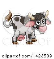 Clipart Of A Retro 8 Bit Pixel Art Video Game Styled Cow Royalty Free Vector Illustration