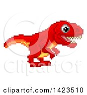 Retro 8 Bit Pixel Art Video Game Styled Red Tyrannosaurs Rex Dinosaur