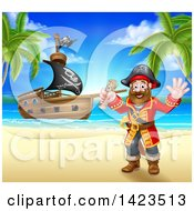 Clipart Of A Happy Male Pirate Captain Holding A Treasure Map And Waving On A Tropical Beach With A Ship In The Background Royalty Free Vector Illustration by AtStockIllustration
