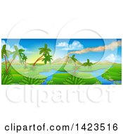 Clipart Of A Perhistoric Jurassic Landscape With A Smoking Volcano Royalty Free Vector Illustration