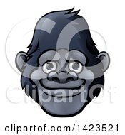 Clipart Of A Cartoon Happy Gorilla Face Royalty Free Vector Illustration