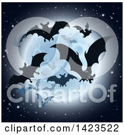 Clipart Of Silhouetted Flying Vampire Bats And A Full Moon Royalty Free Vector Illustration by AtStockIllustration