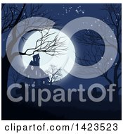 Clipart Of A Haunted House And Cemetery Against A Full Moon Royalty Free Vector Illustration