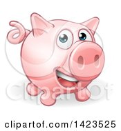 Clipart Of A Cartoon Happy Pig Royalty Free Vector Illustration by AtStockIllustration