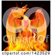 Clipart Of A Flying Fiery Phoenix Bird Rising From Flames Royalty Free Vector Illustration