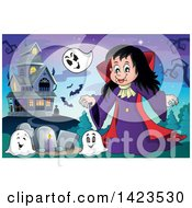 Clipart Of A Vampire Girl With Ghosts In A Cemetery Near A Haunted House Royalty Free Vector Illustration by visekart