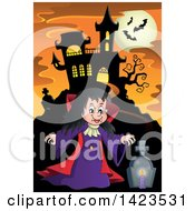 Clipart Of A Witch Girl In A Cemetery Near A Haunted House Against A Full Moon With Bats Royalty Free Vector Illustration by visekart