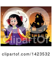 Clipart Of A Witch Girl Near A Haunted House Against A Full Moon With Bats Royalty Free Vector Illustration by visekart