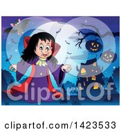 Clipart Of A Witch Girl Near A Haunted House Against A Full Moon With Flying Bats Royalty Free Vector Illustration by visekart