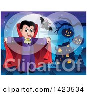Clipart Of A Dracula Vampire Holding His Cape Open Near A Haunted House Royalty Free Vector Illustration