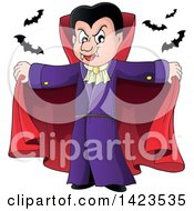 Clipart Of A Dracula Vampire Holding His Cape Open With Bats Royalty Free Vector Illustration by visekart