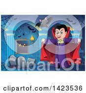 Clipart Of A Dracula Vampire Holding His Cape Open With Bats Over Graves Royalty Free Vector Illustration by visekart