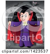 Clipart Of A Dracula Vampire Holding His Cape Open With Bats In A Hallway Royalty Free Vector Illustration by visekart