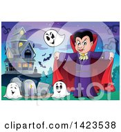 Clipart Of A Vampire With Ghosts In A Cemetery Near A Haunted House Royalty Free Vector Illustration