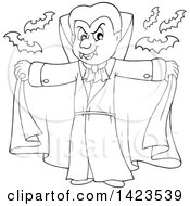 Clipart Of A Black And White Lineart Dracula Vampire Holding His Cape Open With Bats Royalty Free Vector Illustration